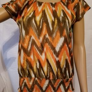 Michael Kors Orange Brown Wavy Top XS